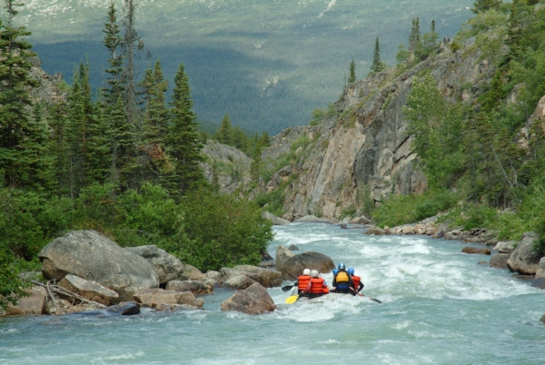 People rafting on the Tutshi River