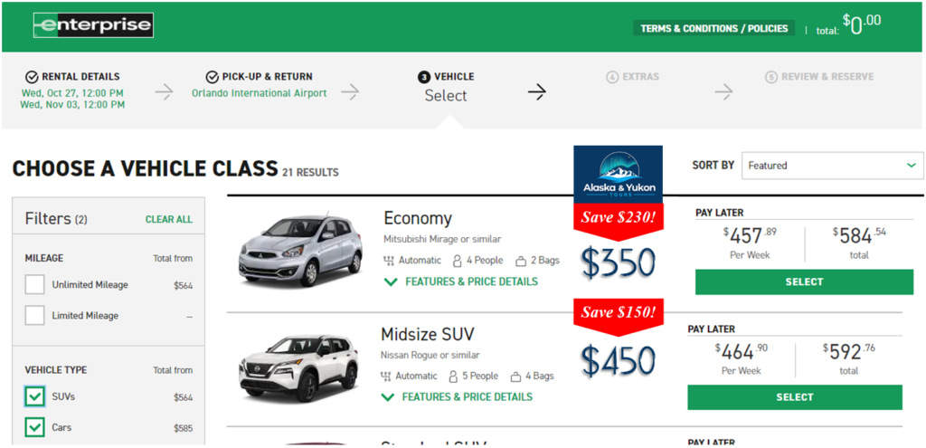 Sample rates comparing our rates with Enterprise for the same car!
