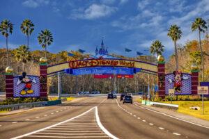 Orlando, Florida. January 11, 2019 Entrance Arch of Walt Disney Theme Parks in Lake Buena Vista area.